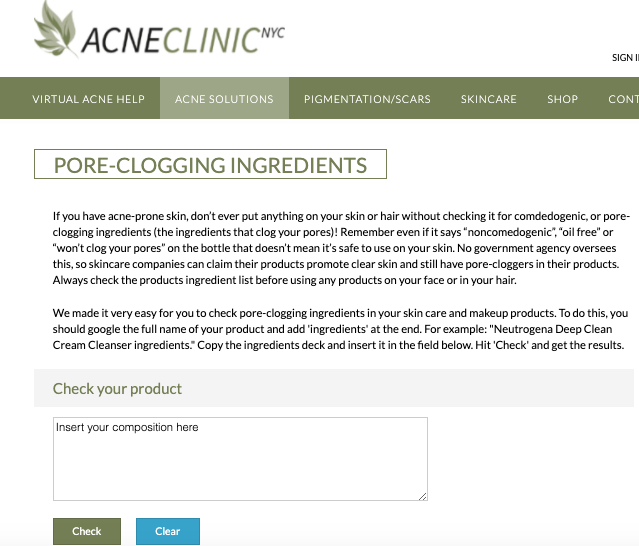 Acne Clinic - Check Pore Clogging Skincare Ingredients